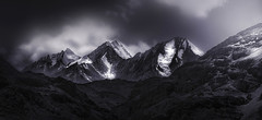 3 sisters .. (tchakladerphotography) Tags: mountains sky clouds hills highland travel monochrome atmosphere mood india d90 spiti