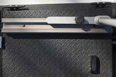 A Heavy Duty Truck Bed Cover And Custom Rack On A Ford Raptor (DiamondBack Truck Covers) Tags: aluminum diamondback diamondplate tonneaucover truckbedcover pickuptruck whitetruck ford f150 ff15 raptor c hd heavydutytruckbedcover ruggedblack customermod rack snow outdoors overheadview custom