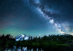 The Milky Way, meteors and Northern Lights above Mount Shuksan reflected in Highwood Lake, Mount Baker-Snoqualmie National Forest, Washington State (diana_robinson) Tags: milkyway northernlights meteors shootingstar mountshuksan reflection highwoodlake mountbakersnoqualmienational washingtonstate mountbakersnoqualmienationalforest nikonflickraward