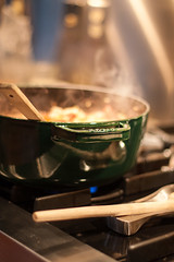 Cooking (Jeremy Caney) Tags: 1928 aluminum castiron cooking dinner fresh gas green homemade hot kitchen modern pasta pig pots range soup stainlesssteel staub steam stove stovetop woodspoon