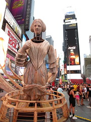 Ship Figurehead Lady Sculpture Times Square NYC 5572 (Brechtbug) Tags: wake unmoored sculptures by artist mel chin climate change themed art times squre midtown manhattan 2018 nyc july 07172018 figurehead lady ship statue boat construction ribs sunken shipwreck artwork wood woodlike carved carving historic past history