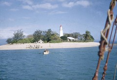 Low Island located in the Low Isles Queensland, 1954 (State Library of Queensland, Australia) Tags: queensland statelibraryofqueensland islands lowisland greatbarrierreef coralreefs lighthouse boat scientificexpedition scientists