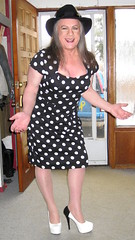 Bazooms and polka-dots! (ShaeGuerin) Tags: hair ownhair brunette longhair hat crossdresser crossdressing genderqueer nails lips cougar tilf tgirl transvestite transgender tranny trannybabe tv cd mature gurl tgurl mtf m2f xdresser tg trans travesti manicure lipstick pretty cute feminized fashion enfemme feminised romantic femme feminine dreamgirl makeover makeup cosmetics passable dressedasagirl crossdressed crossdress girly classy boytogirl portrait sissy sissyboy fuckable sensual seductive sexy boobs legs leggy highheels nylons nylon stockings cfmshoes stilettos