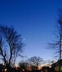 P4185853 (Paul Henegan) Tags: 67crop moon venus bluehour crepuscule dusk houses pole streetlights suburbia trees twilight utilitylines waxingcrescent