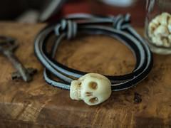 bracelet bead (Brother O'Mara) Tags: skull sculpt sculpture sculpting polymerclay bracelet leather strap bead