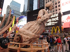 Ship Figurehead Lady Sculpture Times Square NYC 5561 (Brechtbug) Tags: wake unmoored sculptures by artist mel chin climate change themed art times squre midtown manhattan 2018 nyc july 07172018 figurehead lady ship statue boat construction ribs sunken shipwreck artwork wood woodlike carved carving historic past history