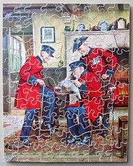 News of the Regiment (pefkosmad) Tags: jigsaw puzzle wooden plywood hobby leisure pastime complete used secondhand vintage victory gjhaytercoltd pre1970 algrace newsoftheregiment painting art chelseapensioners figurals whimsies newspaper reading