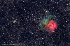 M20 Trifid nebula and M21 (Star Watcher) Tags: astrometrydotnet:id=nova2650696 astrometrydotnet:status=solved qhy8l ccd skywatcher quattro eq6 m20 trifid nebula astrophotography