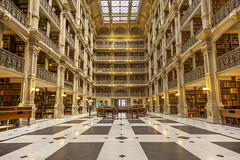 George Peabody Library (johngoucher) Tags: approved georgepeabodylibrary peabodylibrary baltimore maryland historic architecture atrium library castiron railings books ceiling symmetry room wideangle rokinon12mm sonyimages sonyalpha architecturalphotography building