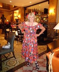 Showing Off--Again! (Laurette Victoria) Tags: dress necklace blonde floralprint woman laurette hotel bar lobby milwaukee pfisterhotel
