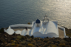 romantic time (moniq84) Tags: romantic time sun reflection light sunset sunrise couple people boy girl nature church orthodox sea wave waves nikon green rock skaros santorini greece europe island travel shadows aegean egeo blue white