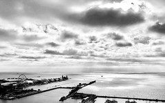 Chicago, 2018 (gregorywass) Tags: chicago river lake michigan navy pier bw monochrome clouds morning sunrise water harbor july 2018