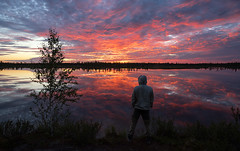 Alone (Andrey Snegirev) Tags: sunset summer nature siberia russia lake water reflection amazing beautiful