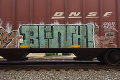 BLINK (TheGraffitiHunters) Tags: graffiti graff spray paint street art colorful freight train tracks benching benched blink hopper