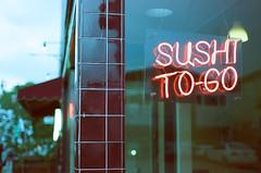 Sushi To Go (H Polley) Tags: neon night dusk alameda expiredfilm expired film rollfilmweek rollfilm 35mm nikonfm kodak gold