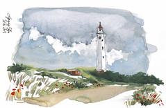 Day Three III - Lyngvig Fyr (connykunze) Tags: leuchtturm denmark travelsketcher jutland danmark sketchbook traveljournal watercolors