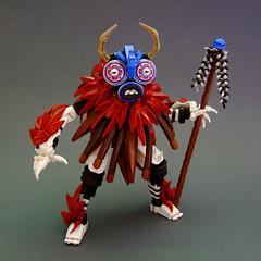 Mask of the Spirit Caller (Djokson) Tags: mask spirit caller shaman dancer costume festival dancing masks red blue white black staff horns lego bionicle moc toy figure model djokson