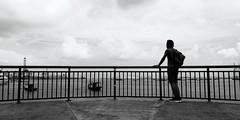 platform overlooking the sea @ west coast park (j0035001-2) Tags: westcoastpark singapore park garden nature bw monochrome platform ship boat people simple line pcn parkconnector silhouette