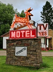 Bingo's Motel, Wakefield, MI (Robby Virus) Tags: wakefield michigan mi up upper peninsula bingos motel bar sign signage tv television yes deer leap leaping neon