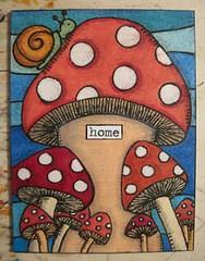 Snail Shroom ATC (janniebyeehaw) Tags: swapbot atc snail mushroom coloredpencil jannieb