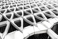 Brutal (DobingDesign) Tags: grid mesh angular angles lines structure architecture blackandwhite pattern repeatingpattern repetitive bones skeleton centrallondon london brutalistarchitecture
