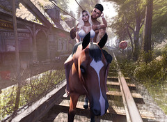 Horse Ride (dumeric_asp) Tags: horse forest mesh station couple
