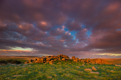 Gutter Tor cloudscape (snowyturner) Tags: tor dartmoor sunset clouds rocks sky hills devon grass landscape yelverton sheepstor granite animals sheep ponies light evening altocumulus meavy warhorse england southwest twilight vista panorama weather eos 1022mm 1018mm canon 600d lens profile nature devonian history geology skies formation capture warm scene