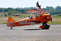 N74189 (2) (goweravig) Tags: boeing stearman kaydet visiting aircraft wnas18 swanseaairport n74189 aerosuperbatics wingwalkers 2 swansea wales uk biplane