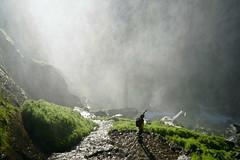 Vernal Falls, Yosemite (szeke) Tags: man rocks water fog waterfall mountain grass yosemite yosemitenationalpark