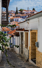 A Skopelos Street - Skopelos Town (The Sporades - Greece) (Panasonic Lumix TZ200 Travel Compact) (1 of 1) (markdbaynham) Tags: greece hellas hellenic grecia greka gr greekisland sporades sporadesisland skopelos skopelostown skopelosoldtown compact travelcompact travelzoom panasonic panasoniclumix lumix lumixer dmctz200 tz200 zs200 panasonictz 1 1inch panasoniccompact holiday travel vacation greek aegeanisland aegean