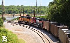 2/2 BNSF 8831 Leads NB Empty Coal Drag Kansas City, MO 7-15-18 (KansasScanner) Tags: bnsf up fxe mopac 1982 up1982 sd70mac kansascity kansas edwardsville bonnersprings loring train railroad railfanning railfan