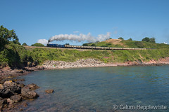 Sun, sea and steam (Calum Hepplewhite) Tags: 6023 kingedwardii salterncove paigntondartmouthsteamrailway dartmouthsteamrailway br brblue brexperimentalblue gwr king 460 nikond500 omot