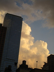 2018 July Orange Clouds and Virtual Clock 6174 (Brechtbug) Tags: 2018 july clouds virtual clock tower from hells kitchen clinton near times square broadway nyc 07272018 new york city midtown manhattan spring springtime weather building dark low hanging cloud hell s nemo southern view ny1rain
