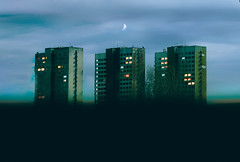 triplets (Coughh_Syrup) Tags: soviet architecture moon sky clouds neon lights night windows city urban town building sparks