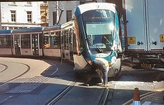 Tram Smash in Nottingham. (ManOfYorkshire) Tags: tram 221 net nottingham tramway sustem collided collision accident smach lacemarket lorry clearance damage damaged considerable frontend police