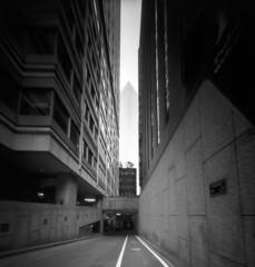 (Zeb Andrews) Tags: realitysosubtle6x6 fujiacros100 sanfrancisco california blackwhite monochrome urban downtown cityscape zaahphoto alley skyscrapers pinhole lensless travel scannedatbluemooncamera nikoncoolscan9000