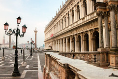 Museum and San Marco Square (theseBoetz) Tags: arches unesco blue lamppost building monuments piazzasanmarco museum sanmarcosquare venice architecture italia medieval sky italy dawn museoarcheologiconazionale