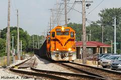 CSS 2000 @ Miller, IN (Michael Polk) Tags: chicago south shore bend railroad freight train emd gp382 coal miller csxt gary indiana interurban station