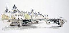 Pont Notre-Dame, Paris (alexhillkurtzart) Tags: fountainpen watercolor urbansketch usk paris