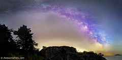 Milky Way over cliff (james c. (vancouver bc)) Tags: night park ocean outdoor peaceful rock sky summer tree vancouver water westvancouver britishcolumbia white whyte pink blue orange islet arch wide panoramic cloud cliff green yellow grass starfield atmosphere background canada cluster coast constellation galaxy infinite flower milkyway nature outdoors pacific science sea space star starry stellar twinkle universe vast