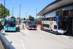 ANW 2746, WOB 205 and SM 19637 @ Altrincham Interchange (ianjpoole) Tags: arriva north west alexander dennis enviro 300 cx58evp 2742 warringtons own buses 200mmc ch57cat stagecoach manchester 400 mx59fjv 19637 working sapphire route 263 altrincham interchange piccadilly gardens cat 5a warrington bus station 11 stockport respectively