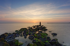 Sunset at the Brouwersdam (Johan Konz) Tags: sea ocean northsea water sky sunset rocks brouwersdam zeeland netherlands nikon d7500 landscape seascape shoreline horizon le longexposure