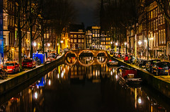 AmsterNight reflections (179/365) (Walimai.photo) Tags: amsterdam holanda netherlands holland night noche nuit reflection reflejo bridge puente light luz canal channel nikon d7000 nikkor 35mm
