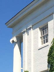 Timothy Follett House (1841) – south elevation detail (origamidon) Tags: lookingup bluesky detail column ioniccapital ionic doriccapital lakeview collegestreet urban timothyfolletthouse timothyfollett folletthouse 1841 ammibyoung greekrevival architecture nationalregisterofhistoricplaces nrhp 72000091 10301972 63collegest burlingtonvermontusa burlington vermont vt usa chittendencounty 05401 greenmountainstate donshall origamidon