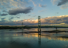 Deer Isle Bridge at Sunset (davidmurr) Tags: maine littledeerisle deerisle deerislebridge sedgwick eggemogginreach bridge suspensionbridge rt15 sunset djimavicpro mavic dji mavicpro downeastmaine