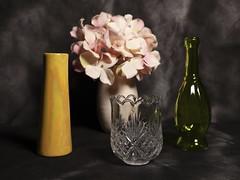 Still Life (N.the.Kudzu) Tags: tabletop stilllife pottery vase glass colored bottle flowers canondslr canonefslens