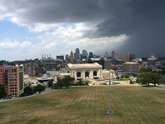 Stormy sky over downtown Kansas City (mdhorns) Tags: travel kansascity missouri museum memorial architecture city downtown unionstation storm clouds