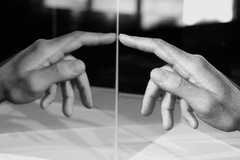 Where Does the Finger Point (From The Frantic Photographer) Tags: mirror pointing hand finger blackwhite monochrome
