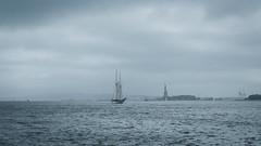 Sailboat & Liberty (ep_jhu) Tags: nyc x100f classicchrome manhattan ny water fujifilm agua ship river sails newyorkcity fuji hudson statueofliberty newyork sailboat unitedstates us cloudy rainy