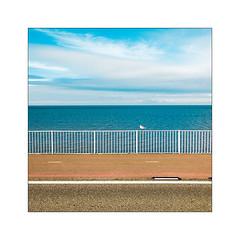 Le temps est long dans le monde d'Anton. (Scubaba) Tags: europe paysbas couleurs mouette barrière ciel mer minimalisme minimal route seagull berreer sky sea minimalism road